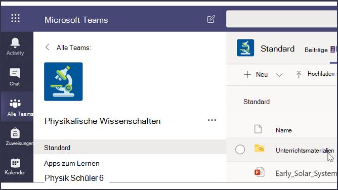 Screenshot eines Teams-Klassenzimmers