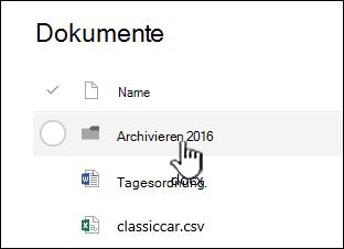 SharePoint Online-Dokumentbibliothek mit hervorgehobenem Ordner