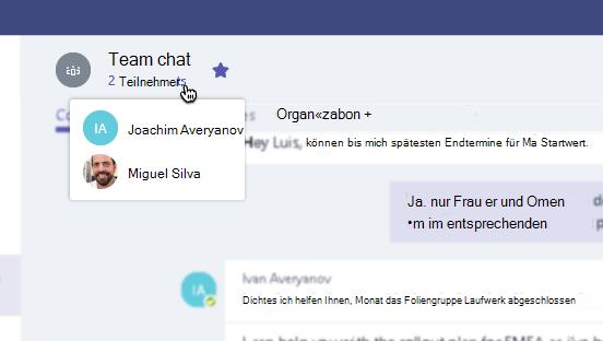 Teilnehmerliste in einer Chatüberschrift