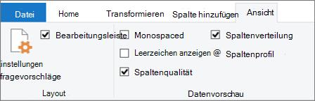 Optionen für die Datenprofilerstellung auf der Registerkarte 'Ansicht' im Menüband des Power Query-Editors
