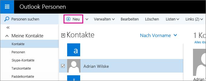 """Screenshot der Symbolleiste auf der Outlook-Seite """"Personen"""" mit einem Popup für den Befehl """"Neu"""""""