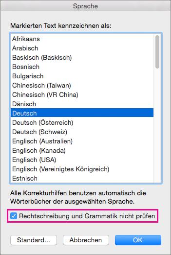 """Wählen Sie """"Rechtschreibung und Grammatik nicht prüfen"""" aus, um zu verhindern, dass Word den ausgewählten Text überprüft."""