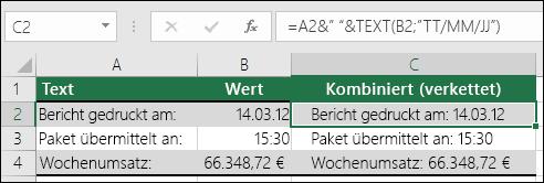 """Beispiele für das Verketten von Zellwerten mit der TEXT-Funktion.  Formel: =A2&TEXT(B2;""""""""TT/MM/JJ""""). Dabei gilt: A2 = """"Bericht gedruckt am:"""" und B2 = """"14/03/12""""."""