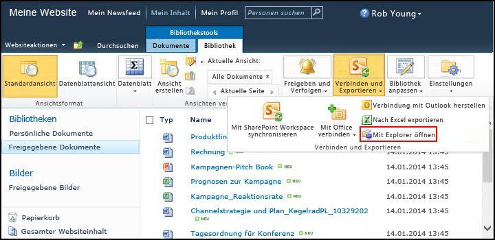 """Ordner """"Freigegebene Dokumente"""" von SharePoint 2010, Option """"Mit Explorer öffnen"""
