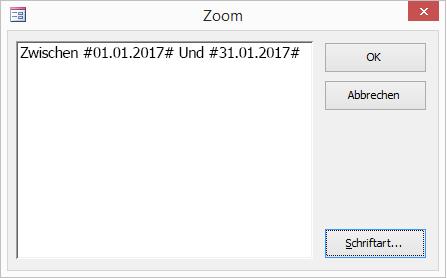 Ausdruck im Dialogfeld 'Zoom'