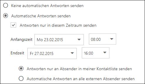 Outlook im Web – Festlegen des Zeitpunkts für automatische Antworten