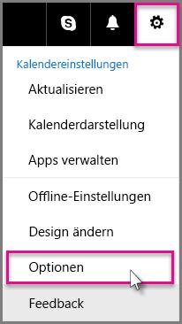 """Klicken Sie auf """"Einstellungen"""" > """"Optionen""""."""