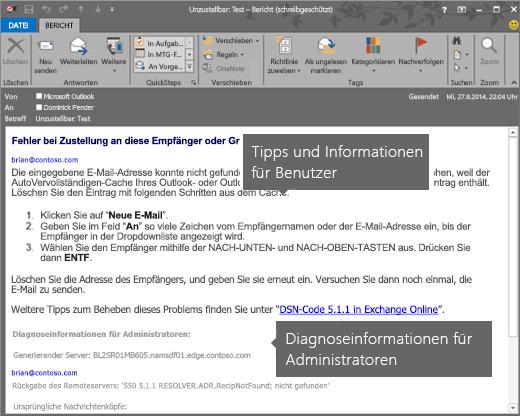 NDR mit Diagnoseinformationen für Benutzer und Administratoren