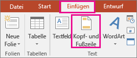 shows insert > header button in powerpoint