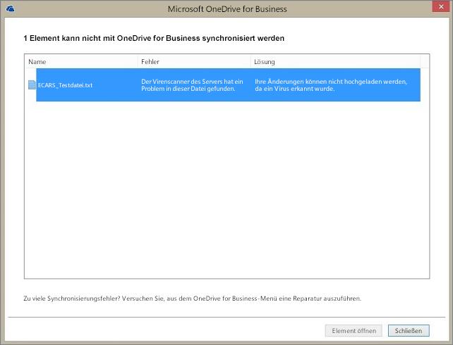 Screenshot eines Dialogfelds, das anzeigt, dass 1 Element nicht mit OneDrive for Business synchronisiert werden kann, weil der Virenscanner des Servers ein Problem mit der Datei gefunden hat.