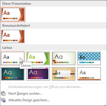 Auswählen des Office-Designs
