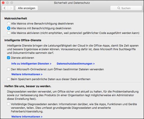 Aktivieren intelligenter Features auf dem Mac