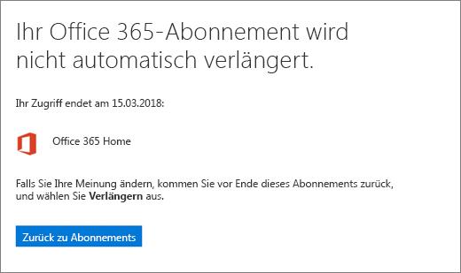 Screenshot der Bestätigungsseite, wenn Sie ein Office 365 Home-Abonnement kündigen.