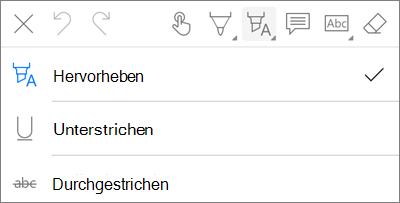 OneDrive für iOS PDF-Markup Hervorhebungs Menü