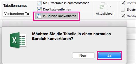 """Auf der Registerkarte """"Tabelle"""" den Befehl """"In Bereich konvertieren"""" auswählen"""