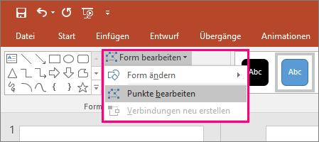 """Zeigt die Option """"Punkte bearbeiten"""" im Menü """"Form bearbeiten"""" auf der Registerkarte """"Zeichentools"""" in PowerPoint."""