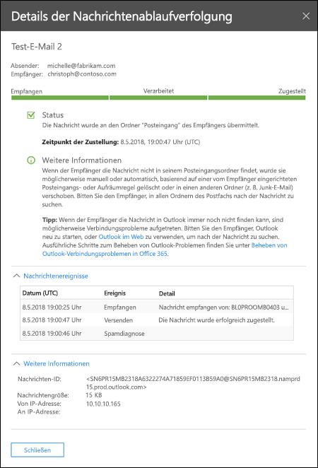 Details, die nach dem Doppelklicken auf eine Zeile in den Ergebnissen der Nachrichtenablaufverfolgung im Zusammenfassungsberichts im Office 365 Security & Compliance Center angezeigt werden