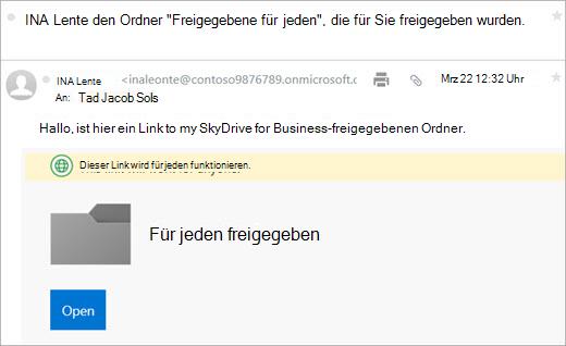 Office 365 Link Senden einer e-Mail
