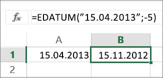 Subtrahieren von Monaten von einem Datumswert