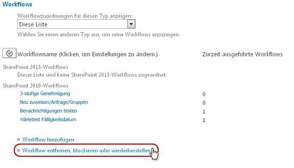Seite 'Workfloweinstellungen' mit Hervorhebung des Links 'Workflow entfernen'
