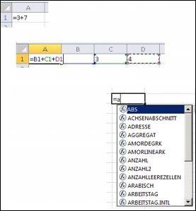 Erstellen von Formeln auf eine andere Weise