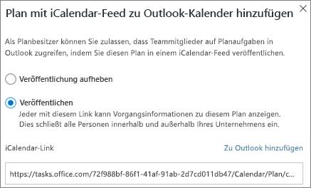 Screenshot des Plans hinzufügen zu Outlook-Kalender (Dialogfeld)