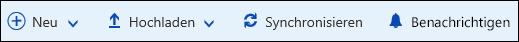 Office 365– Hauptmenü der Dokumentbibliothek