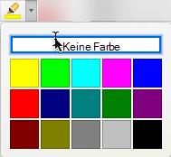Text Textmarker-Schaltfläche und Color-Katalog