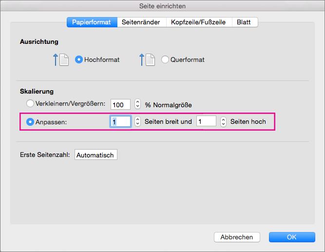 Drucken Eines Blatts Auf Nur Einer Seite In Excel Für Mac Excel
