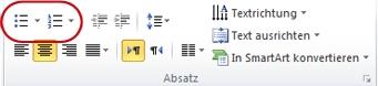 Schaltflächen 'Aufzählungszeichen' und 'Nummerierung' in der Gruppe 'Absatz'