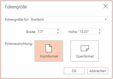 """Im Dialogfeld """"Foliengröße"""" können Sie zwischen dem Seitenverhältnis """"Standard"""" oder """"Breitbild"""" und der Ausrichtung """"Querformat"""" oder """"Hochformat"""" auswählen."""