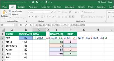 Tabelle, die zeigt, wie WENNS zum Berechnen von Schulnoten verwendet wird