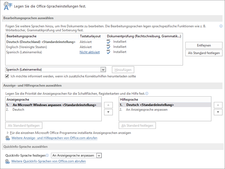 Spracheinstellungen in Word 2013