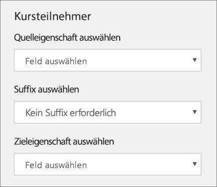 Screenshot der drei Einstellungen für das Synchronisieren von Schülern/Studenten in School Data Sync, einschließlich Quelleigenschaft, Suffix und Zieleigenschaft