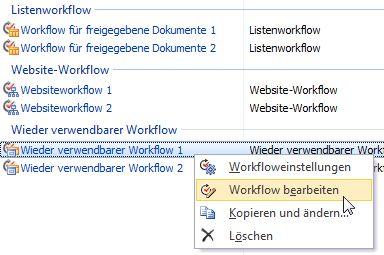 Workflows bearbeiten