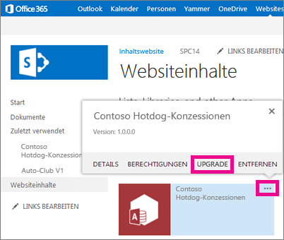 Befehl 'Upgrade' unter den drei Punkten für die App auf der Seite 'Websiteinhalte'