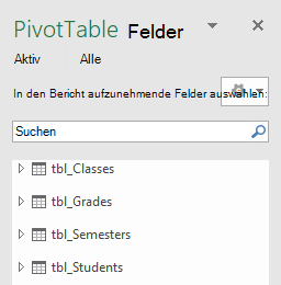 Power Pivot PivotTable-Feldliste