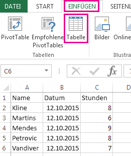 """Die Option """"Tabelle"""" befindet sich auf der Registerkarte """"Einfügen""""."""