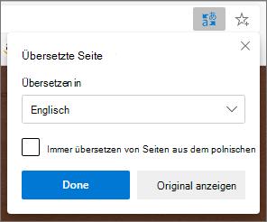 Microsoft Translator-Panel mit dem Status der Übersetzung
