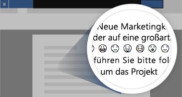 Dokument mit vergrößertem Bereich mit einer Reihe verfügbarer Emojis