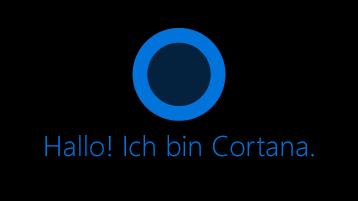 """Das Cortana-Symbol auf dem Bildschirm, darunter die Wörter """"Hallo. Ich bin Cortana""""."""