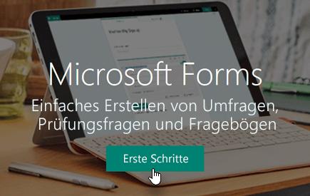 """Schaltfläche """"Erste Schritte"""" auf Microsoft Forms-Startseite"""