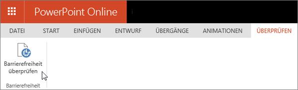 """Screenshot der Registerkarte """"Überprüfen"""" mit dem Cursor auf der Option """"Barrierefreiheit überprüfen"""""""