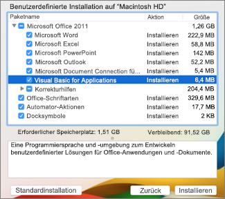 Screenshot der benutzerdefinierte Installation Menü