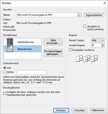 "Outlook-Dialogfeld ""Drucken"" mit Druckeroptionen"