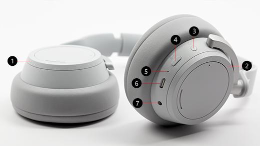Bild mit einer Erläuterung der verschiedenen Schaltflächen auf Surface Headphones.