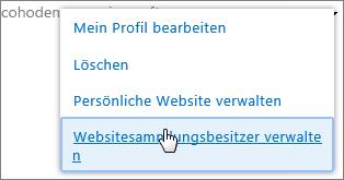 Persönliche Website verwalten