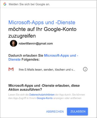 """Fenster """"Berechtigungen"""", um Outlook den Zugriff auf Ihr Gmail-Konto zu erlauben"""