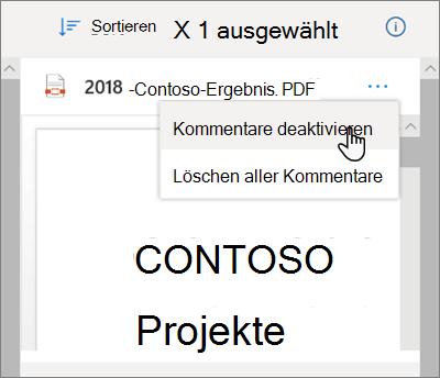 """Der OneDrive-Detailbereich mit aktivierter Option """"Kommentare deaktivieren"""" im Dropdownmenü"""