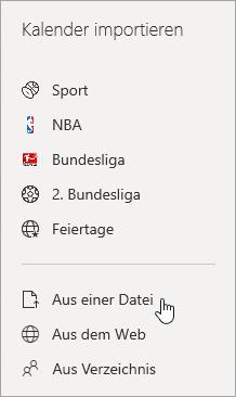 Ein Screenshot aus Dateioption importieren